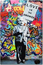 "DVQ ART - Framed Art Einstein ""Love is Answer"" Canvas Print Painting Colorful Figure Street Graffiti Wall Art Pics for Living Room Decor Ready to Hang 1 PCS"