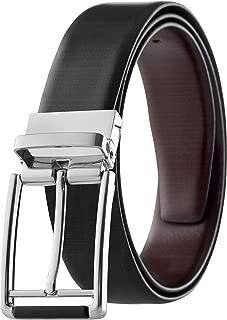 Prospero Comfort 男士双面经典皮带意大利面粒面皮革黑色和棕色旋转扣