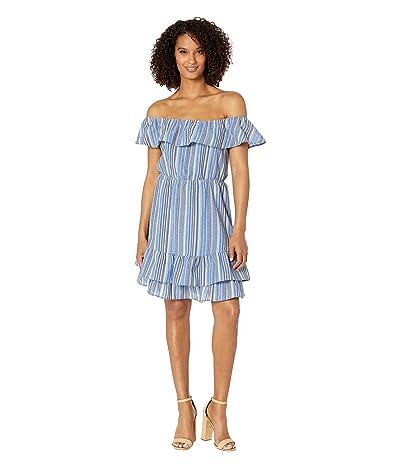 American Rose Belinda Off the Shoulder Ruffle Dress (Blue) Women