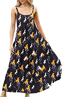 YESNO Women Casual Loose Bohemian Floral Print Empire Waist Spaghetti Strap Long Maxi Summer Beach Swing Dress XS-5X E75CAG