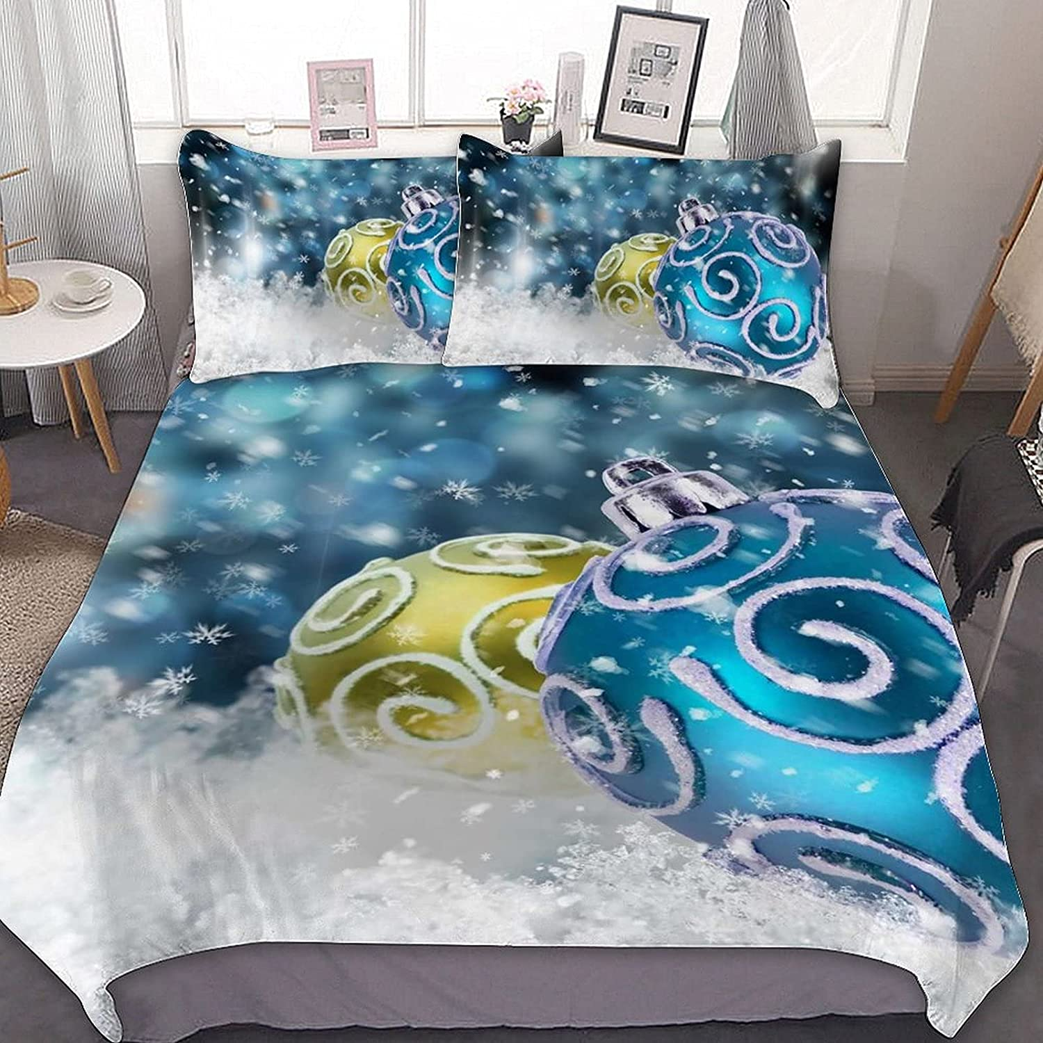 PNNUO Max 70% OFF Blue Yellow Xmas Balls Queen Bed King C Full Twin Surprise price Size Set