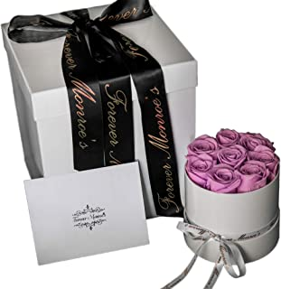 Lilac Preserved Roses in a round box, Roses that last a year