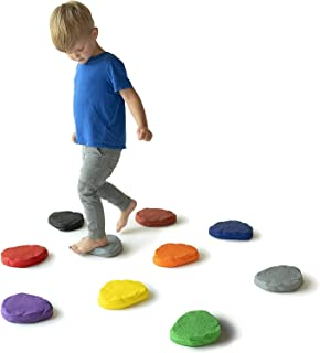 JumpOff Jo - Foam Stepping Stones for Kids - Set of 10 Colored, Textured, Flexible Balance Blocks – Promotes Coordination – RockSteady Puddle Jumpers
