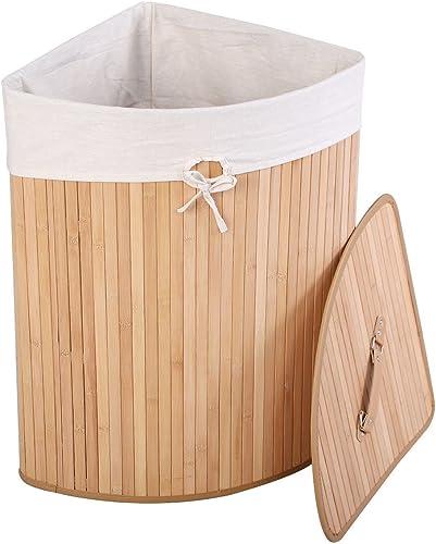 lowest Giantex sale Corner online Bamboo Hamper Laundry Basket Washing Cloth Bin Storage Bag Lid Natural online