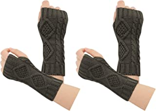 Womens Wrist Fingerless Mittens Typing Gloves Winter Knit Arm Warmer 2 Pairs