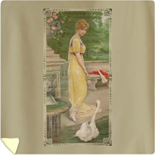 Beauty and The Swan Vintage Poster (Artist: Rossi) France c. 1905 60443 (88x88 Queen Microfiber Duvet Cover)