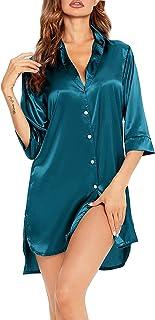 SWOMOG المرأة قصيرة الأكمام قمصان نوم مريحة قميص نوم لطيف مطبوعة ملابس نوم مودال قمصان نوم مغرفة الرقبة اللباس النوم