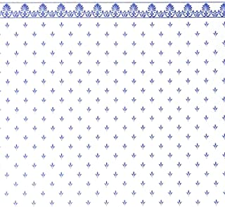 Melody Jane Dollhouse Blue on White Balmoral Miniature Print 1:12 Scale Wallpaper