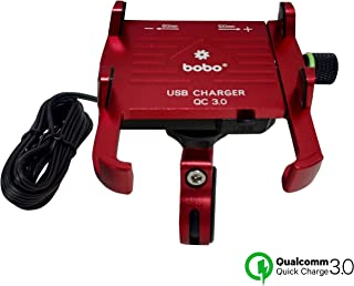 BOBO Claw-Grip Aluminium Waterproof Bike/Motorcycle/Scooter Mobile Phone Holder Mount with Fast USB 3.0 Charger, Ideal for Maps and GPS Navigation (Red)