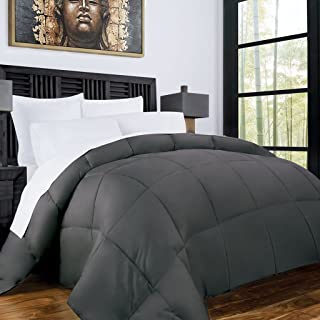 Zen Bamboo Luxury Goose Down Alternative Comforter - All Season Hotel Quality Hypoallergenic Duvet Insert with Cooling Bamboo Blend Fabric - King and Cal King - Gray