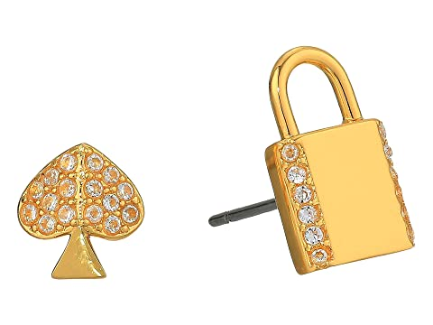 Kate Spade New York Lock and Spade Pave Asymmetrical Lock Studs Earrings