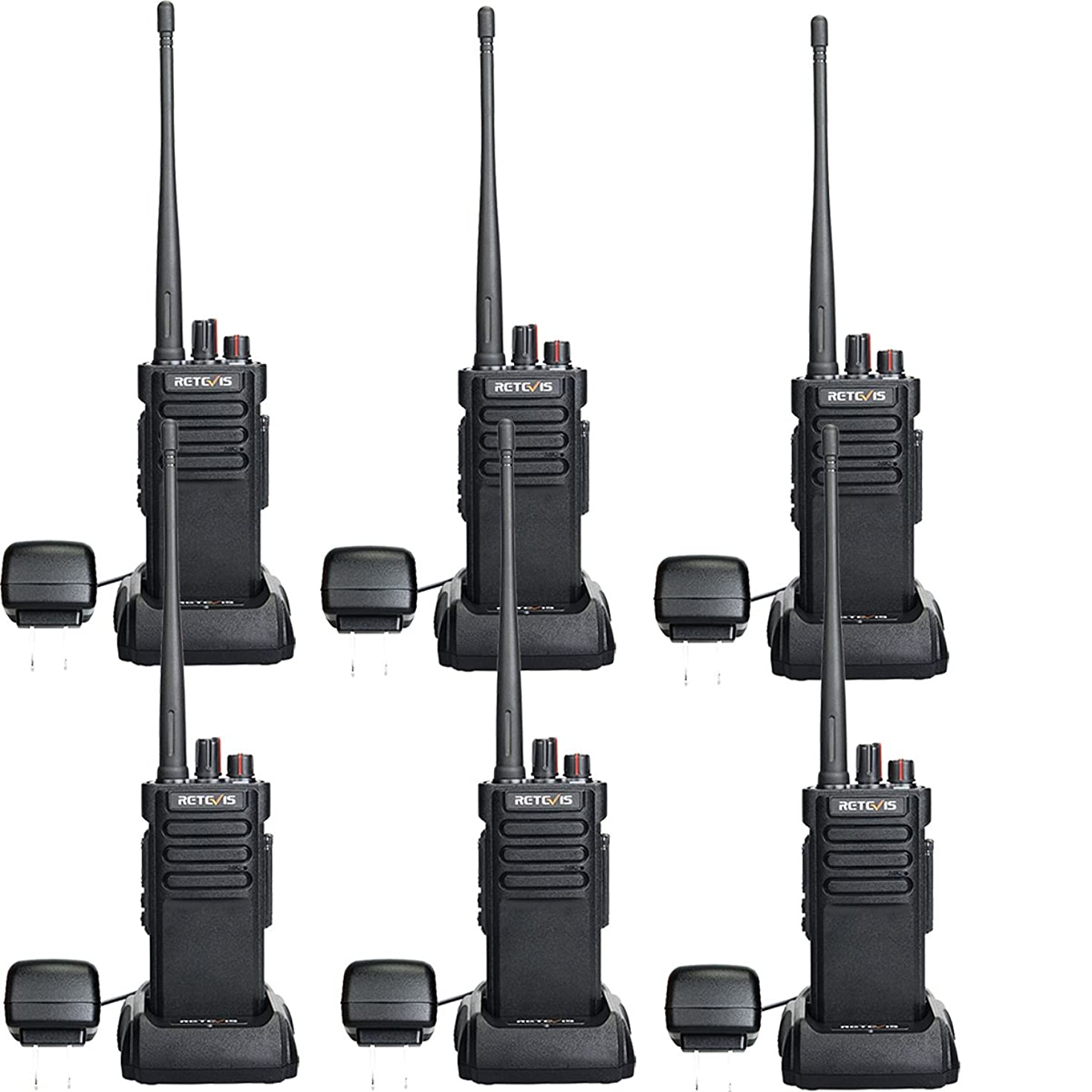 Retevis RT29 2 Way Radios Long Range 3200mAh 16 CH Lock VOX Rechargeable UHF Scrambler Alarm Security High Power Walkie Talkies with Super Clear Audio(6 Pack)