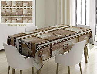 Unique Custom Cotton And Linen Blend Tablecloth Numbers Decor Vector Style Illustration Of Countdown Numbers On A Film Strip Pattern Umber Warm TaupeTablecovers For Rectangle Tables, 60 x 40 Inches