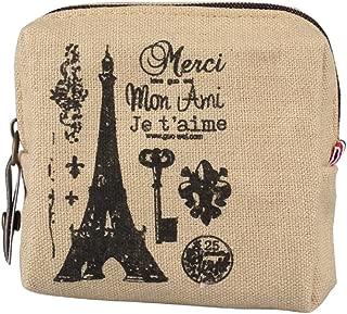 DZT1968(TM) Women Canvas Retro Small Mini Square Eiffel Wallet Coin Purses Clutch Money Pouch Bags Gift (Khaki)