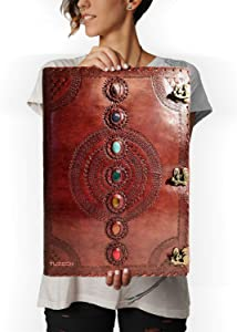 Tuzech Seven Chakra Medieval Stone Embossed Handmade Leather Journal Book of Shadows Notebook Office Diary College Book Poetry Book Sketch Book - 1.8 FEET - Giant Leather Diary (22 Inches)
