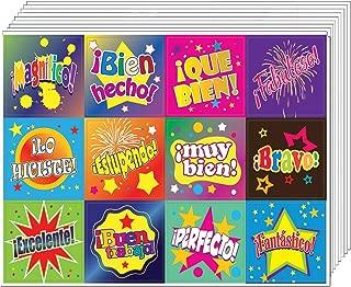 Creanoso Spanish Good Work Reward Stickers (10-Sheet) – Inspiring Encouraging Spanish Words Quotes Assorted Wall Stickers – Gift Rewards Ideas for Good Behavior – Awesome Sticker Set