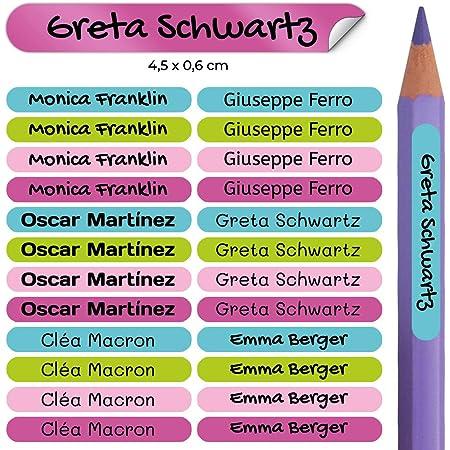 50 Pegatinas Personalizadas con Nombre para material de oficina. Etiquetas adhesivas mini de colores. Vinilo adhesivo identificativo impermeable para bolígrafos y lápices. Tamaño 4,6 x 0,6 cm