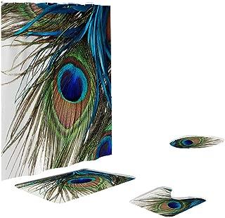 Toilet mats Set Fiaya 3Pcs /4PCS Animal Multicolor Polyester Bathroom Set Rug Contour Mat+Toilet Lid Cover +Plan Solid Color Bath Mats +Shower Curtain (4PCS, Multicolor Peacock)