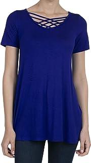 SHOP DORDOR Women's Short Sleeve Criss Cross Loose Shirts Tunic Tops Basic T Shirt