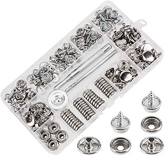 AIEX Kit de broches de lona de 150 piezas, acero inoxidable Tornillo de fijación Snaps Barco de grado marino Cubrir Snap Kit de botones con herramienta de configuración de 3 piezas (50 juegos)