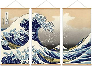 wall26 - 3 Panel Hanging Poster with Wood Frames - Japanese Traditional Art The Great Wave Off Kanagawa by Hokusai - Ready to Hang Decorative Wall Art - 18