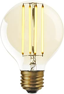 LED Edison Bulb, E26 Globe - Round G25 Vintage Light Bulb, Warm White 2200K, Fully Dimmable, 5 Watts (180 Lumens), Squirrel Cage Filament, Medium Base, Midwood Collection