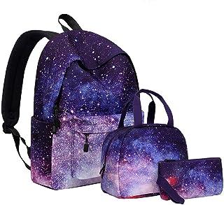 حقيبة ظهر ZBK Starry Sky للفتيات، حقيبة كمبيوتر محمول للنساء، حقيبة مدرسية، مع حقيبة غداء وحقيبة قلم