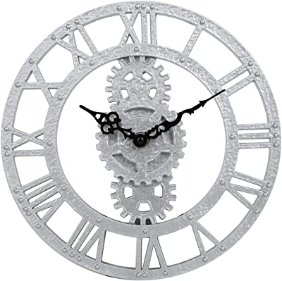Lily's Home Hanging Wall Clock, Steampunk Gear and Cog Design, Ideal for Indoor or Outdoor Use, Poly-Resin, 12 Inches Diameter (Silver)