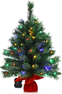 Goplus 26in Tabletop Christmas Tree, with 35 LED Lights/ 4 Colors/ 8 Flash Modes, Battery Operated