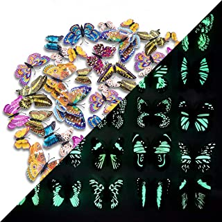 48 PCS 3D Luminous Double Wing Colorful Butterfly Wall Stickers DIY Art Rainbow Decor Crafts for Nursery Classroom Offices Kids Girl Boy Baby Bedroom Bathroom Living Room Magnets and Glue Sticker Set