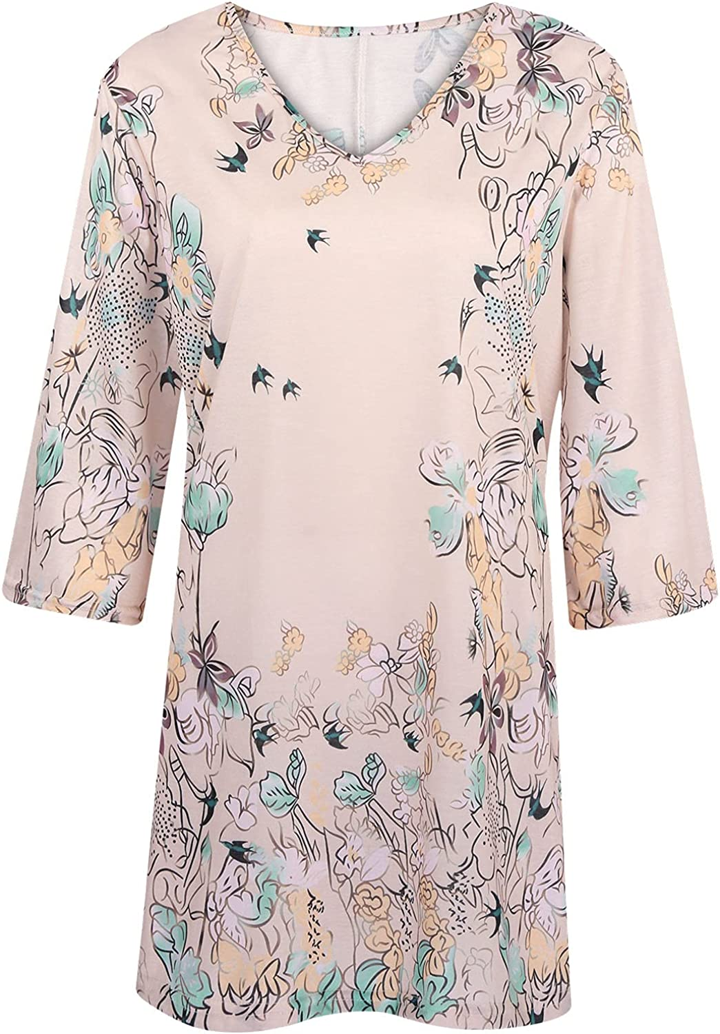 Akklian 3/4 Sleeve Shirts for Women Fall Casual Floral Printed Sexy V-Neck Tee Loose Oversized Tunic Tops Blouse T Shirts