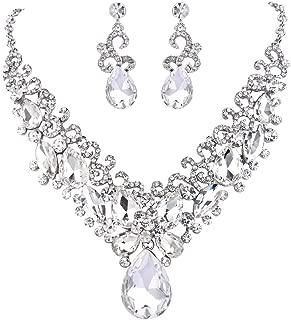 Clearine Women's Bohemian Boho Teardrop Marquise Butterfly Filigree Statement Necklace Dangle Earrings Set