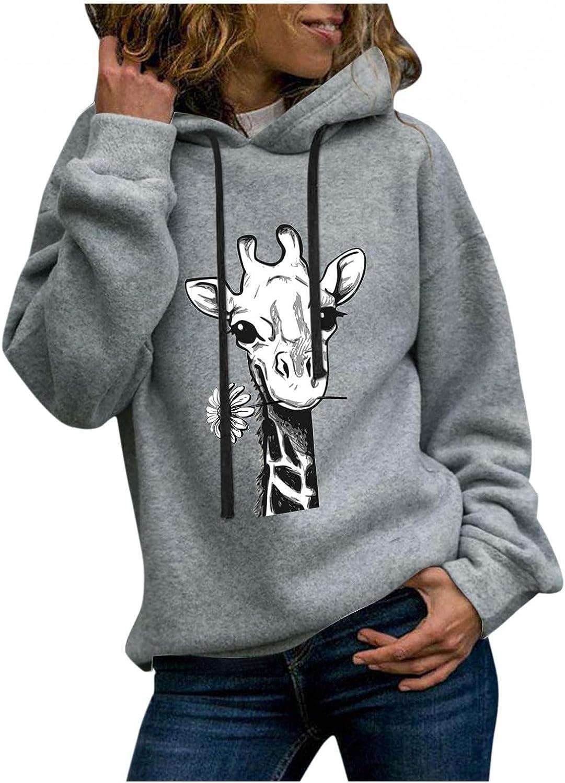 Toeava Womens Hoodies Sweatshirts Casual Long Sleeve Giraffe Graphic Sweatshirt Fashion Pullover Tops Tunic Shirts