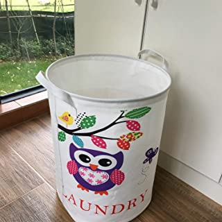 Waterproof Foldable Laundry Hamper Bucket,Dirty Clothes Laundry Basket, Bin Storage Organizer for Toy Collection,Oxford Cloth Storage Basket with Stylish Cartoon Design (Owl random) ( Color : Owl )