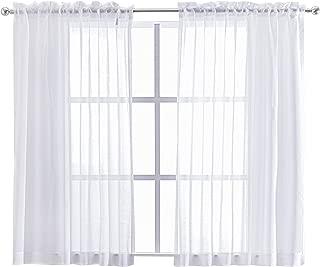 FLOWEROOM White Sheer Curtains Bedroom - Faux Linen Rod Pocket Voile, 55 x 63 inch Length, 2 Panels