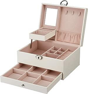 goldwheat Jewelry Box Organizer Case Two-Layer Leather Jewelry Display Storage Box with Lock and Mirror,White