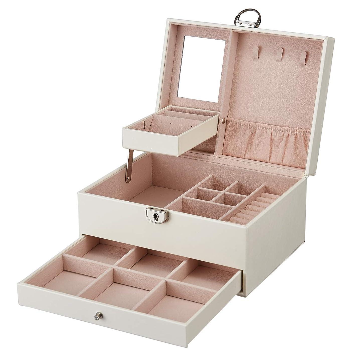 吐く密サバントArcEnCiel ジュエリーボックス 鍵ミラー付き 3階 大容量 ジュエリー アクセサリー 収納 宝石箱