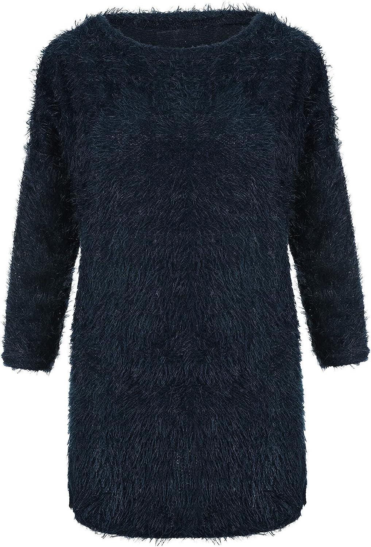 Misaky Women's Mid-length Top Plush Crewneck Fuzzy Fleece Sweatshirt Terry Thread Pullover Top