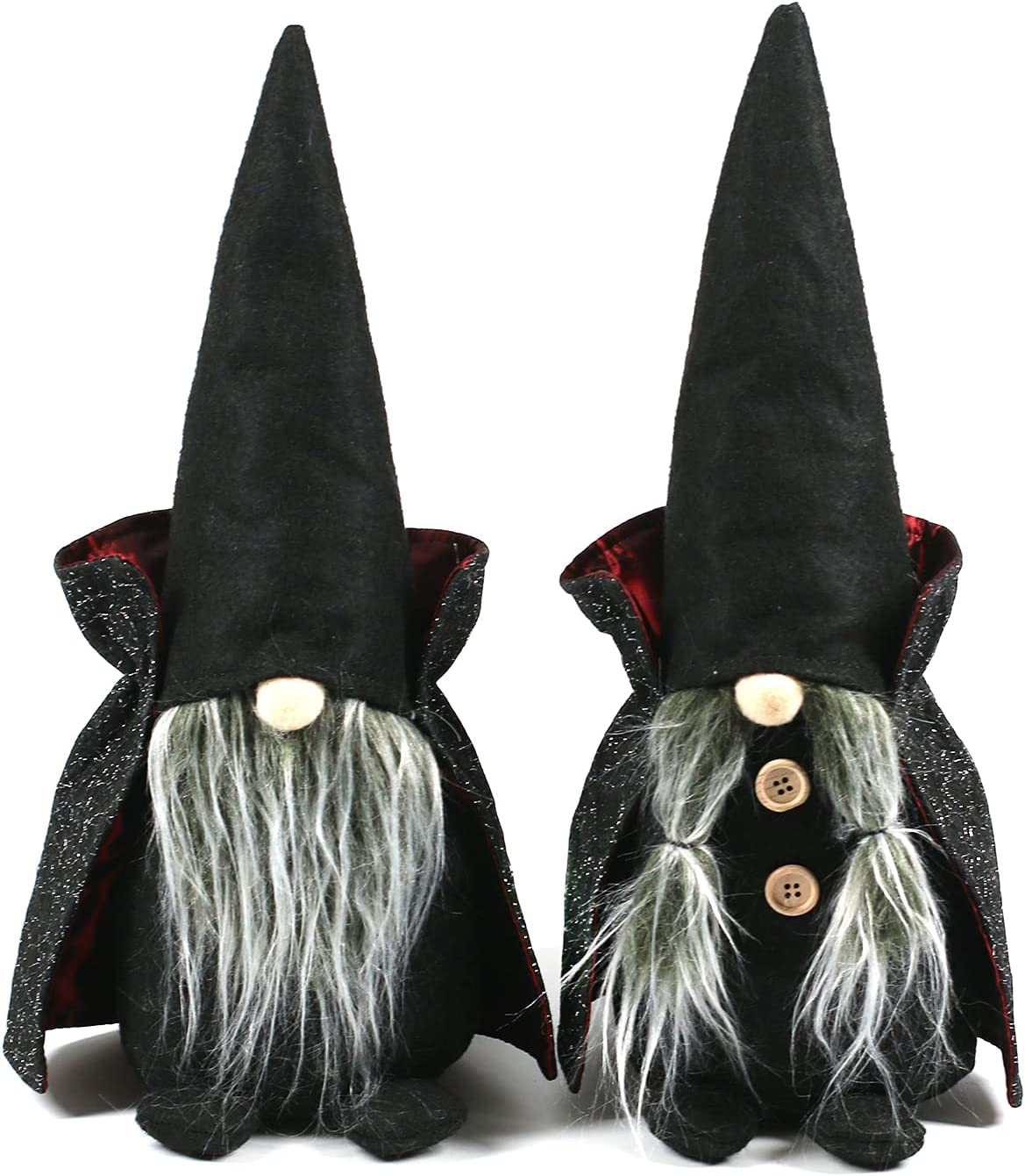 Ogrmar 2 Pack 15.4 Inch Halloween Gnomes Plush Doll Decor Handmade Nisse Scandinavian Gnomes Tomte Swedish Gnome with Black Hat Cloak for Halloween Home Tabletop Ornaments