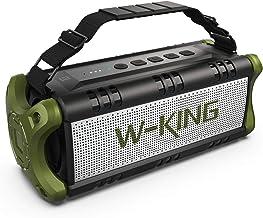 بلندگوهای بلوتوث بی سیم W-KING D8 و باتری 8000mAh پاوربانک - بلندگوی TWS ضد آب قابل حمل در فضای باز 50W ، بلندگوهای قدرتمند باس با صدای بلند و شفاف استریو برای مهمانی ها ، سرپوشیده و فضای باز (سبز)