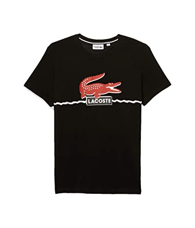 Lacoste Short Sleeve Graphic Tee (Black/Red/White) Men