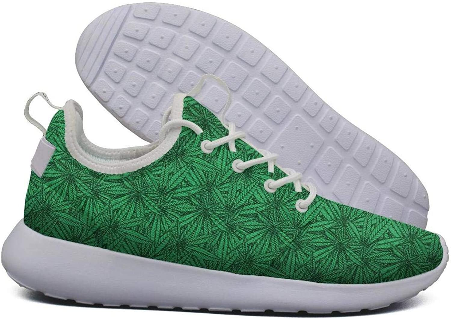 Hoohle Sports Womens Green Cannabis Leaf Flex Mesh Roshe 2 Lightweight Stylish Road Running shoes