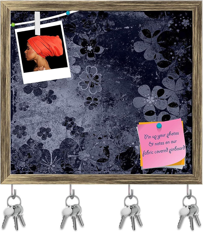 Artzfolio Floral Vintage Background Key Holder Hooks   Notice Pin Board   Antique golden Frame 17.7 X 16Inch