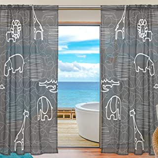 Mr.Brilliant Cute Animal Pattern Tulle Voile Door Window Room Sheer Curtain Drape Q Version Cartoon Elephant Giraffe Childish for Kids Gauze Curtain for Bedroom Single 2 Panels 55x78 inches 2060189
