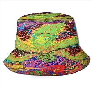 Fisherman Hat Psyche Marijuana Leaf Bucket Hat Unisex 3D Printed Packable Bonnie Cap UV Protect Lightweight Sun Hat for Picnic Hunting Fishing Golf Hiking