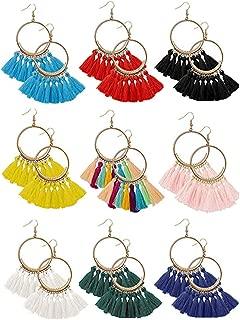9 Pairs Tassel Hoop Earrings Bohemian Fan Tassel Earrings Dangle Ear Drop for Women Girls Daily Wear/Party