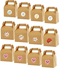 24 Pack 4.5x3.2x3.3 Inches Brown Gift Boxes with Stickers Gable Gift Boxes Recycled Kraft Gift Box Candy Treat Boxes, Smal...