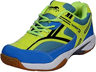 Stallion (S-101 SHARP) Sky Blue & Yellow Important Sports Shoes For Unisex Men-Boys-Women-Girls-Junior PU Material Non Marking Rubber Sole Outdoor Indoor Playing - Best in Badminton, Basketball, Volleyball, Fast Running, Walking, Jogging & Gymnastic (Gym) Sports Shoes