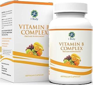 Vitamin B Complex – 5-MTHF Folate with B1, B2, B5, B6, Methyl B12, Niacin, Biotin – Wide Range of Benefits for Stress, Hea...