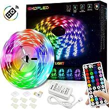 Tiras LED 5M, SHOPLED 5050 RGB de LED Strip, Remoto de 44 Botones,12V/3A, 8 Modos y DIY, para Habitación, Televisor, pared, dormitorio, Bar, Fiesta, Crear ambiente, Función de temporización